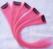 Hair Collection-30cm PINK 100% Human Hair Clip in on Extensions - 4.1cm widex5pcs