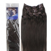 46cm Clip in human hair extensions, 10pcs, 100g, Colour #2