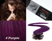 Vivid Hair 25 Strands Straight Micro Ring Links Locks Beads Keratin Stick I Tip Remy Human Hair Extensions Purple Colour 0.75g Per Strand