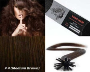 25 Strands Straight Keratin I Tip Stick Glue Human Hair Extensions Colour #4 (Medium Brown) 0.75g Per Strand