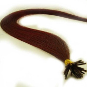 25 Strands Straight Micro Ring Links Locks Beads Keratin Stick I Tip Human Hair Extensions Colour #Dark Red