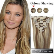 46cm Clip in Remy Human Hair Extensions 70g 7pcs #8/613 Ash Brown/platinum Brown