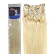 46cm Clip in Human Hair Extensions, 10pcs, 100g, Colour #613