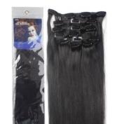 46cm Clip in Human Hair Extensions, 10pcs, 100g, Colour #1B