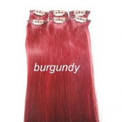 6 Pieces 50cm Burgundy Highlights Streaks Clip on in 100% Human Hair Extensions