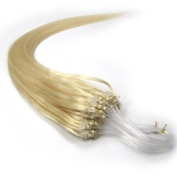 60cm Loop Micro Ring Beads Tipped Remy Human Hair Extensions 100s 60 Platinum Blonde for Women's Beauty Hairsalon in Fashion