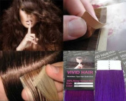 10 Pcs X 60cm inches Remy Seamless Tape Skin weft Human Hair Extensions Colour Purple