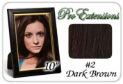 25cm Inch #2 Dark Brown Pro Extensions Human Hair Extensions
