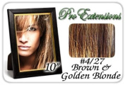 25cm Inch #4/27 Brown w/ Golden Blonde Highlights Pro Extensions Human Hair Extensions