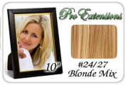 25cm Inch #24/27 Light Blonde w/ Dark Golden Blonde Highlights Pro Extensions Human Hair Extensions