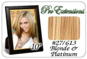 25cm Inch #27/613 Golden Blonde w/ Platinum Highlights Pro Extensions Human Hair Extensions
