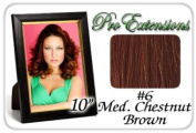 25cm Inch #6 Medium Brown Pro Extensions Human Hair Extensions