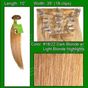 Pro-Extensions Human Hair Extensions 25cm Volumizer #18/22 Dark Blonde w/ Light Highlights - 25cm