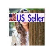 Full Head 46cm 100% REMY Human Hair Extensions 7Pcs Clip in #10 Light Brown