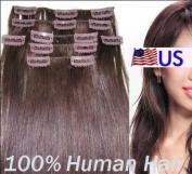 Full Head 46cm 100% REMY Human Hair Extensions 7Pcs Clip in #33 Dark Auburn