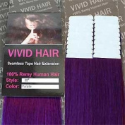 20 Pcs X 60cm inches Remy Seamless Tape Skin weft Human Hair Extensions Colour Purple