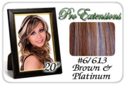 50cm Inch Body Wave #6/613 Brown W/ Platinum Highlights Pro Extensions Premier Human Hair Extensions