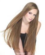 50cm Remy (Remi) Human Hair Clip in Extensions Light Brown (Colour #8) 9 Pieces(pcs) Full Head Volume Set [Set Weight:4.5oz/125grams]