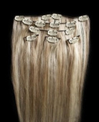 Full Head 60cm 100% REMY Human Hair Extensions 7Pcs Clip in #18/613 Mixed Blonde