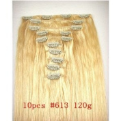 10 Pcs 120 Grammes 60cm Clip in 100% Human Hair Extensions #613 Bleach Blonde