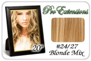 Pro Extensions Body Wave 50cm x 100cm #24/27 Light Blonde w Dark Blonde Highlights 100% Clip on in Human Hair Extensions