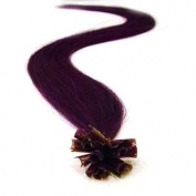 100 Strands Straight Pre Bonded U Nail Tip Fusion Remy Human Hair Extensions 60cm Inches Purple Colour