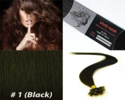 Vivid Hair 100 Strands Straight Pre Bonded U Nail Tip Fusion Remy Human Hair Extensions 60cm Inches # 1 Jet Black Colour