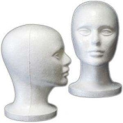 "(6 Pack) Styrofoam Model Heads w/ ""Stabili-Base"" Design by 3rd Power - Hat Wig Foam Mannequin"