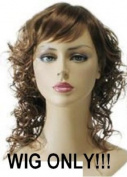 Shoulder Length Curls Auburn Brown Female Wig with Bangs