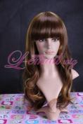 65cm Long Mix Glod/brown Wavy Fashion Wig Sy13