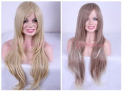 70cm Long Mix Blonde/brown Curly Layer Fashion Wig C34-b