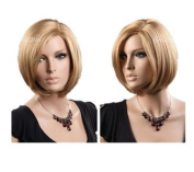 Classic Women Short Light Brown Wig Half Golden Wig For Party