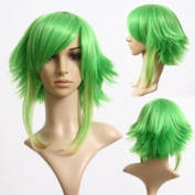 Cosplayland C251 - Vocaloid Gumi 40cm Grass Green layered heat-resistant Cosplay Wig