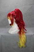 60cm Curly Mixed Red & Yellow Cosplay Wig +1 clip on Ponytail -- Kirigakure Shura