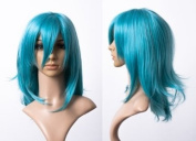 Cosplayland C583 - turquoise blue 45cm shoulder length flip out straight long bangs Events Wig