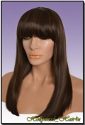 Hollywood_hair4u - Straight Long HL4 / 27 Dark Brown with Strawberry Blonde Highlights Mix Wig with Bangs Kanekalon Heat Resistant Synthetic Fibre Skin Top *NEW*