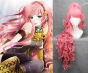 90cm Curly Pink Cosplay wig + 1 Clip On Ponytail -- VOCALOID Megurine Luka