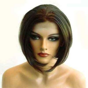 HANDSEWN SYNTHETIC FRENCH LACE FRONT FULL HAIR WIG Colour Medium Brown