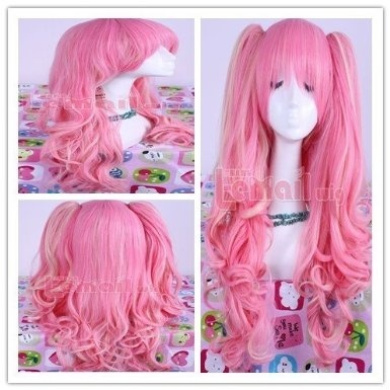 65cm Long Pink and Blonde Anime Lolita Clip on Ponytail Wavy Cosplay Wig Rw139-c