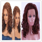 Women Medium Wine Red Wave Lace Front Wig Lc11