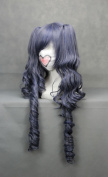 70cm Curly Mixed Grey Lolita Cosplay Wig + 2 clip on Ponytail -- Black Butler Ciel