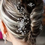 Bridal Wedding Beautiful Elegant Crystal Flowers & Leaves Vines Hair Comb
