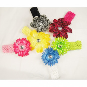 6 Assorted 3-in-1 Large Flower Hair Clip Bows with Soft Stretch Crochet Child Headbands fits Infant Baby to Toddlers to Youth Girls - Mix of Gerber Daisy Lily & Peony