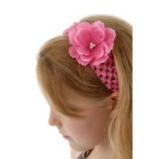 Hot Pink Crochet Headbands for Girls with Medium Hot Pink Silk Flowers, Unique Gifts for Kids