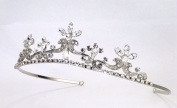 Enchanting Antique-silver Tiara of Rhinestone Encrusted Scrolls Adorned with Marquise, Round and Teardrop Rhinestones #82D9