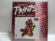 Body Prints Scented Fashion Temporary Nail Tattoos - Butterfly on Rose Bush
