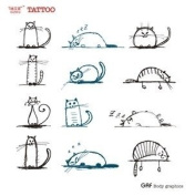 Temporary Tattoos 12 Style Lovely Cute Cat Black & Green 2pcs/lot