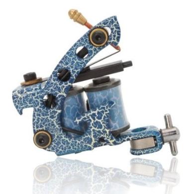 Colourful Beginner 10 Wrap Coils Tattoo Machine Liner Shader Gun HB-WPT095E Blue