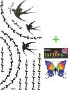 YiMei Hot selling waterproof tattoo sticker black jewellery tattoo sticker swallows beads