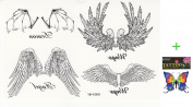 2012 latest new design new release tempoary tattoo waterproof female models black and white angel wings totem tattoo sticker